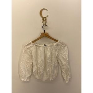 Brandy Melville Long Sleeve Solid Blouse White